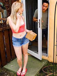 Teen amateur Britney Light gets punished for trying to steal a package pictures