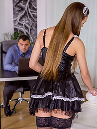 Sexy maid Veronica Clark fucks her boss on his office desk pictures at freekilomovies.com