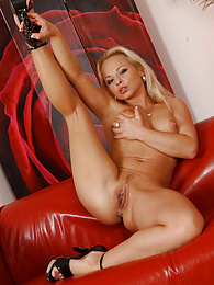 Blonde babe Sharka Blue jams white dildo into her tight pussy pictures