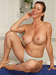 Big breasted mature babe Alexis Fawx spreads her ass apart pictures
