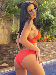 Gorgeous MILF Shalina Devine lies naked by the pool pictures at find-best-lingerie.com