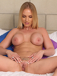 Blonde cougar Rachael Cavalli unleashes her big fake breasts pictures at find-best-panties.com