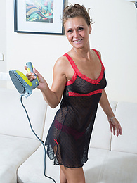 Gorgeous older housewife Drugaya ironing clothes while naked pictures at find-best-panties.com
