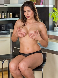 Stunning busty mature babe Zafira pulls down black panties to show trimmed pussy pictures at find-best-hardcore.com