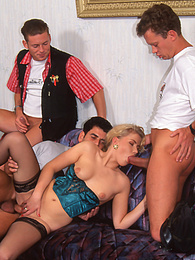 Natalie Serves up Some Hot Coffee and Pussy in a Gangbang pictures