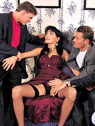 Hyapatia Gives Three Guys a Warm Welcome With Her Pussy pictures at find-best-mature.com