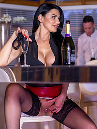 Ania Kinski, the Man-Eating MILF in Stockings and the Waiter pictures at find-best-lingerie.com
