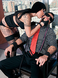 Tattooed, big boobed, Sandra G Smokes a Cigarette and a Cock pictures at find-best-pussy.com