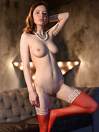 Vigorous enchanting babe has a perfect pair of breasts and a firm round butt to show in exciting poses on a vintage sofa. pictures