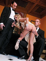 Hot slut in classy attire gets fucked and double penetrated pictures