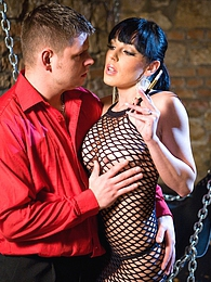 Smoking brunette slut in fishnet dress fucking a hard cock pictures at find-best-pussy.com