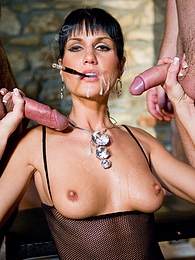 Smoking brunette slut gets double penetrated and a cumshot pictures at freekiloporn.com