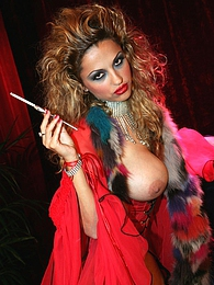 Big boob curly hair smoking babe in red lingerie masturbates pictures at find-best-pussy.com