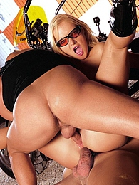 Slut sucking two cocks and double penetration on motorbike pictures at find-best-hardcore.com