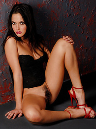 Stunning brunette reveals her stunning body pictures at freekilosex.com