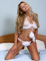 Stunning blonde teen in sexy white lingerie pictures