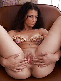 Perky breasted brunette Aubrey Skye toys her juicy pussy pictures at freekiloporn.com