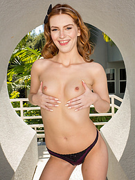 Redhead Maya Kendrick naked outdoors in only black stockings pictures at find-best-lingerie.com