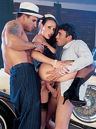 Sexy glamour girl Daniella gets rammed by two gangsters pictures