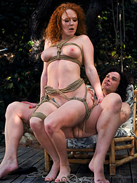Redhead Audrey Hollander is Wrapped and Fucked Outdoors pictures