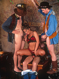 Some Outlaws Get to Fuck a Porn Actress at a Film Set Saloon pictures
