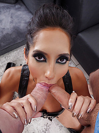 Sexy Latina Chloe Amour Loves Two Cocks Pics - settle on a cock riding her like a cowgirl and sucking another pictures