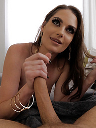 Skinny Brunette Aria Khaide Backstage Blowjob P - She takes my cock deep in her throat pictures at freekiloclips.com