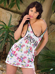 Marcetta In Floral Dress Pink Thong And Pink Tennis Shoes pictures at find-best-videos.com