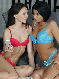 Nataly And Coco Playing On Their Pullout Couch pictures at kilogirls.com