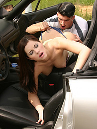Brunette gets banged hard in a car pictures at freekiloporn.com