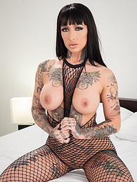 Hot Tattooed Brunette Gets Double BBC P - she has 2 big black cocks to have fun and squirt! pictures at freekilomovies.com