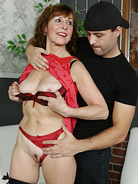 Horny older mature redhead Amy D gets fucked after massage pictures at find-best-panties.com