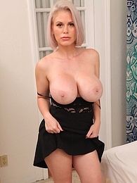 Blonde MILF Casca Akashova exposes massive tits and fingers her twat pictures at find-best-lingerie.com