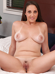 Melanie Hicks exposes her tanlined tits as she fingers her MILF pussy pictures at find-best-pussy.com