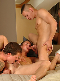 Down and dirty gay threesome on the bed pictures at dailyadult.info