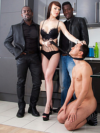 Ambre Aphrodite in Interracial DP Threesome with Submissive pictures