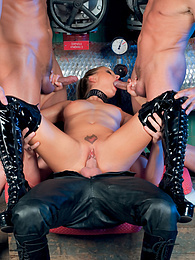 Insatiable Liliane Tiger Takes on Three Guys in Sluts 'r' Us pictures at kilopics.net