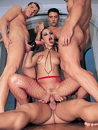 Gorgeous Nikki Montana Has a Gangbang in Fishnet Stockings pictures at freekilosex.com