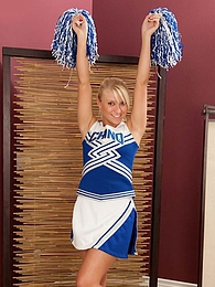 Perky blonde cheerleader Krystal Paige strips naked pictures