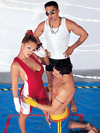 Jesy VS the Boyz. Combat in the Ring ends in KO Cumshot pictures at find-best-hardcore.com