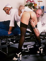 Classic blond nurse seduces horny old patient and fucks him pictures