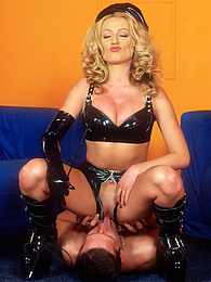 Latex blonde and brunette enjoy a fetish hardcore session pictures at freekilomovies.com