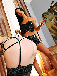 Gorgeous and ravishing Julia Crown in black upskirt is punishing her bad babe in the room pictures at freekilomovies.com