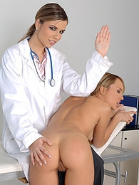 Daring and hot doctor in white uniform is doing massage to her glamorous patient indoors pictures at kilomatures.com