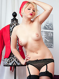Stewardess outfit and dark lipstick are sexy on Sarah Saint pictures at freekilosex.com