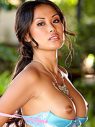 Satin bra and panties are sexy on stripping Asian model Davon Kim pictures