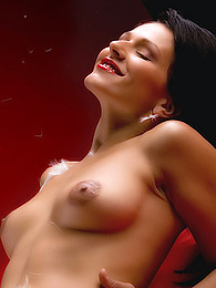 Fabulous girl on satin sheets wears red lipstick and makes lusty faces pictures