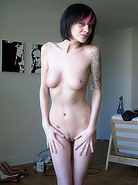 Exciting softcore showoff from a gorgeous alt freshie with pale skin pictures at freekiloclips.com