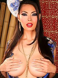 Gorgeous Asian silk dress on beautiful busty pornstar Tera Patrick pictures