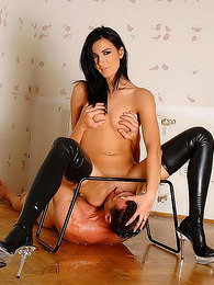 Leather boots babe pisses on sub guy pictures